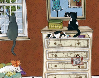 Love Me Love My Cats, cats kittens sleeping in around dresser in bedroom, cat folk art painting, portrait print, ornament available
