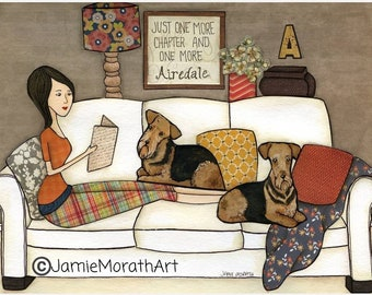 One More Airedale, dog art print