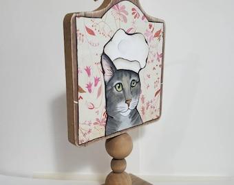 Cat cutting board decor