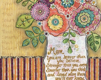 Mom, mixed media flower art print