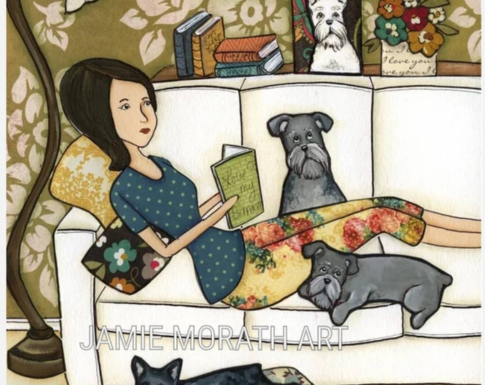 Life of a Schnauzer, Schnauzer dog art print, silver schnauzer, grey, white, standard, lady on couch with dogs reading book in living room