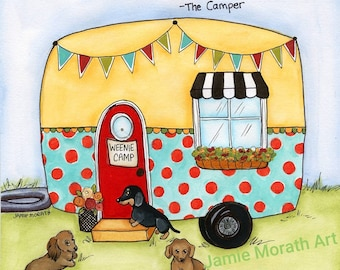 The Camper ~ I Sleep Around - the camper, dachshund camping, weenie camp, vintage camper, retro, turquoise, red, doxie, dog art print