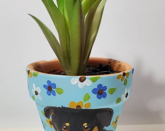 Rottweiler mini pot with artificial succulent