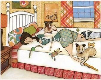 Sleeping Heeler, red heeler, blue heeler, lady in bed in bedroom sleeping with heeler dogs, Christmas dog ornament, plaid curtains, orange