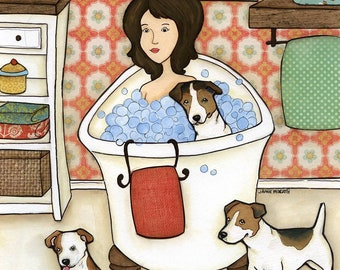 Wash My Jack, Jack Russell terrier dog art print with lady in bubble bath