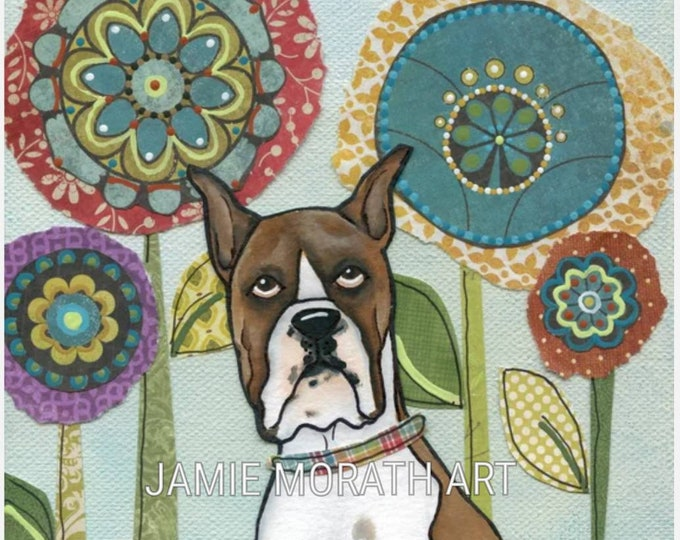 Boxer, brown boxer dog art print with flower pattern background using mixed media