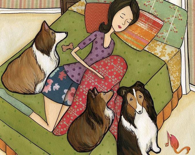 Hairball Goodnight, Always kiss your hairball goodnight, shetland sheepdog, lassie dog art print, lady on bed in bedroom sleep, painting