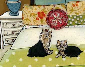 The Yorkies, dog art print