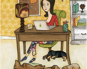 Better Life, I work hard so my dachshund can have a better life, lady working at desk with dogs under the table
