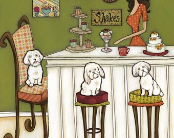 Maltese and Muffins, Maltese dog art print, kitchen wall art sign, kitchen coffee bar, cake decorating, white fluff dog