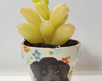 Newfoundland dog mini pot with artificial succulent