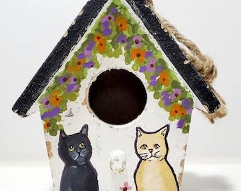 Cat Birdhouse Original handpainted