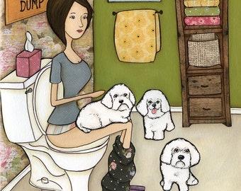 The Bichon Dump, dog art print, Bichon Frise