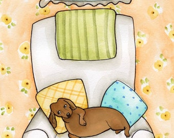 If you want the best seat in the house you must tell me I'm cute and give me a treat, dachshund art print
