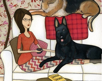 German Shredder, German Shepherd dogs on couch with lady in glasses, black German Shepherd dog art print, round ottoman, striped leggings