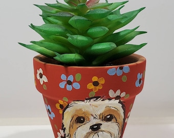 Havanese mini pot with artificial succulent