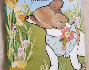 Stop and Smell original Corgi painting on canvas