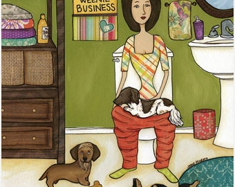 Weenie Business, Lady on toilet with doxie on her lap, tan dachshund, Bathroom scene