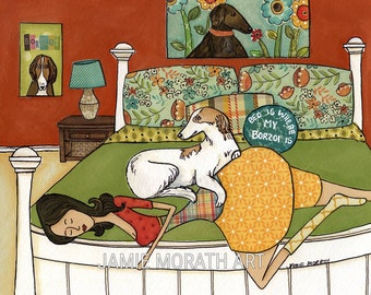 Bed is Where My Borzoi Is, Borzoi and lady on bed dog art print, available in wood ornament, floral flower pillows on bed, knee socks pjs