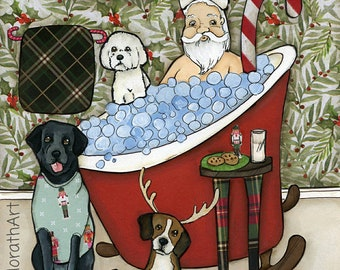 Santa's In The Tub, Christmas bathroom, bathtub painting