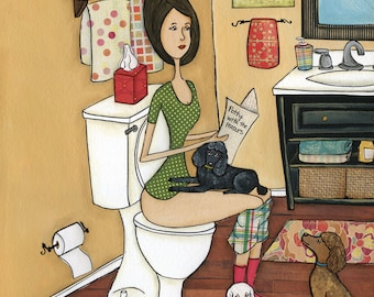 Poopin With Poodles, miniature poodles, funny bathroom art painting print