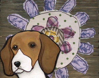Flower Beagle, Purple flower with Beagle face, Beagle art