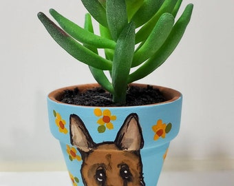 German Shepherd planter with artificial succulent