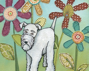 Silver Schnauzer, white schnauzer dog art print, schnauzer dog with daisy mixed media flower background, available in ornaments