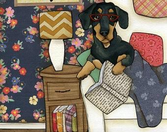 Keeps Reality Away, dachshund dog art