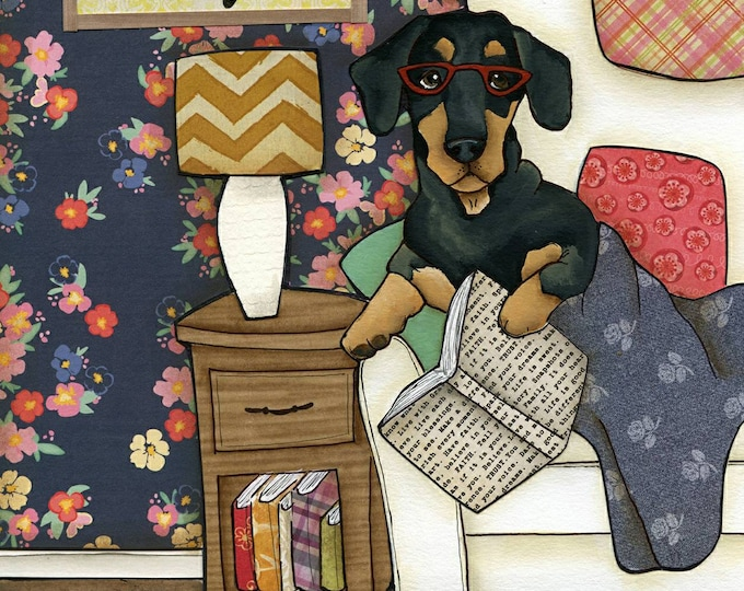 Featured listing image: Keeps Reality Away, dachshund dog art