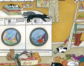 Purrfectly Fluffed, cats kittens sleeping playing around the laundry room, funny laundry cat art print