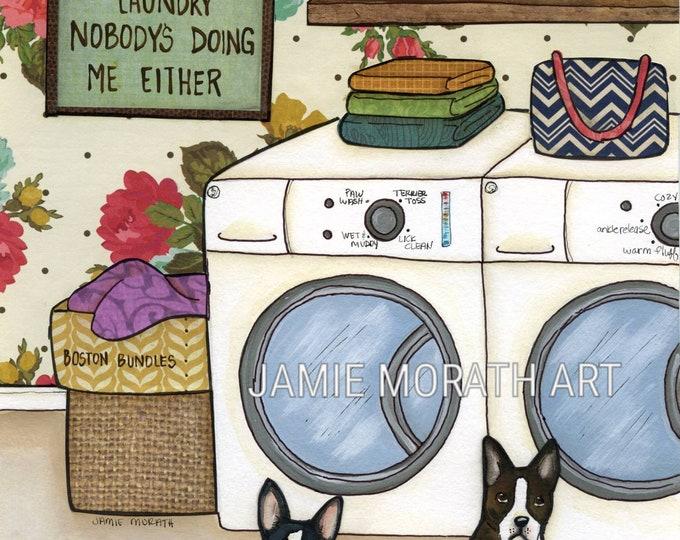 Boston Bundles, Boston terrier dog art print, laundry room wall decor painting, sign, clothes basket, striped handbag, bath towels, dog pics