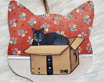 Black Cat in Box ornament