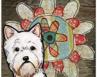 Flower Westie, West Highland Terrier dog art print. dog with mixed media flower art, little white west dog, available in ornament