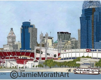 Cincinnati, Ohio prints, reds baseball stadium, perfect gift for man cave, Cincinnati skyline, great American ball park
