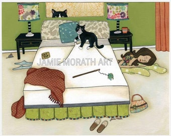 Nowhere to Hide, cat kneeling bed, lady sleeping under the bed with cat, cat bedroom, kitten bed art print, pattern lampshades