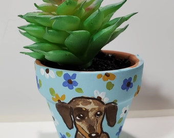 Dapple Doxie mini pot with artificial succulent