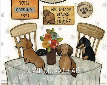 Groceries Are Here, dachshund dog art print, doxie, sausage dog, wiener dog