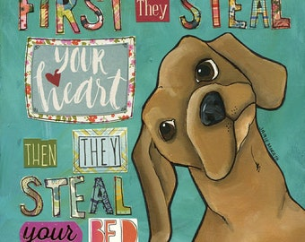 Steal Your Bed, Dachshund dog art