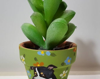 Rat Terrier mini pot with artificial succulent