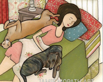 Greyhound Cuddles, lady sleeping in bed with 2 greyhound dogs hogging the bed, ornaments available, mixed media dog art print