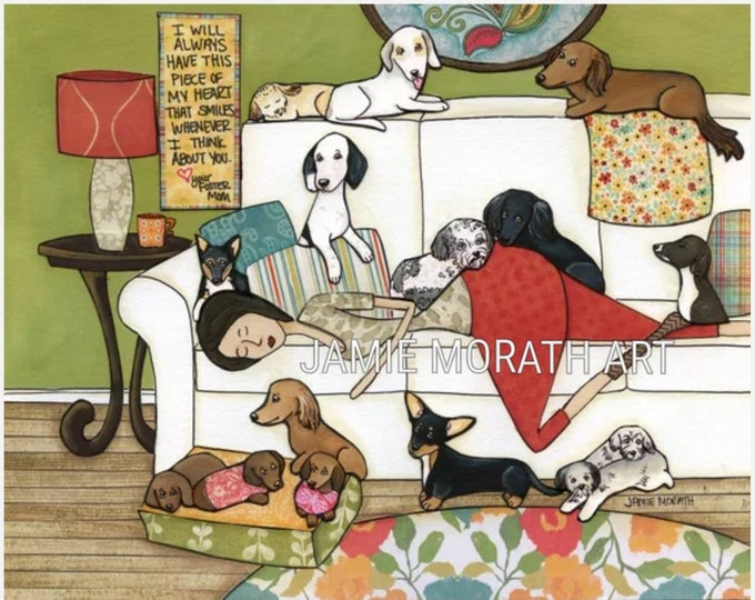 Piece of My Heart, foster mom sleeping on white couch with foster rescue dogs around her, ornament, ornaments, dachshund, puppies, puppy