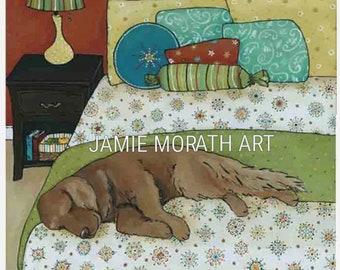 The Golden Nap, golden retriever dog art print, painting, snowflake pattern bedding blanket, dog ornament, turquoise, yellow, blue, green
