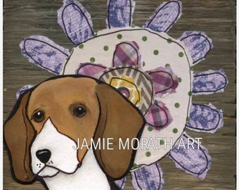 Flower Beagle, beagle dog art print with flower background