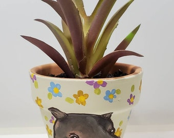 Hippo mini pot with artificial succulent