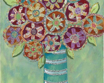 Pixie Sticks in Bloom, mixed media flower art print