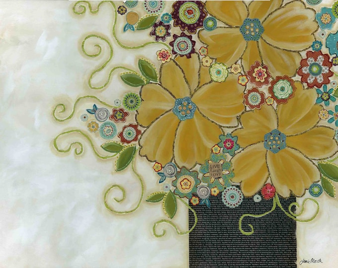 Cherish the Moment, mixed media flower art