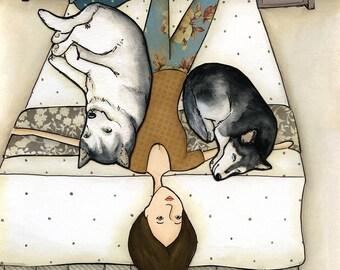 Huskies On Me, husky dog art print