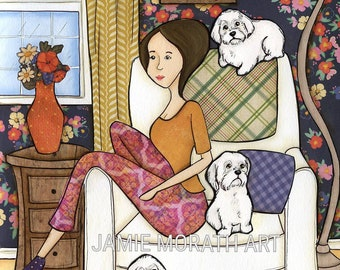 Happy Place, This is My Happy Place, dog art print with lady sitting in chair with four maltese, family room wall decor, white dog painting