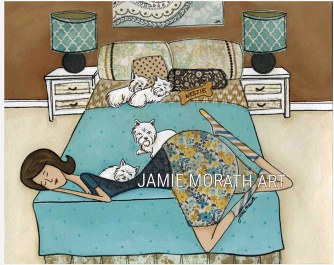 My Bestie, My Westie, West Highland Terrier, Lady sleeping on bed with westies, blue bedroom, bedding, dog art print, bedhog, ornaments